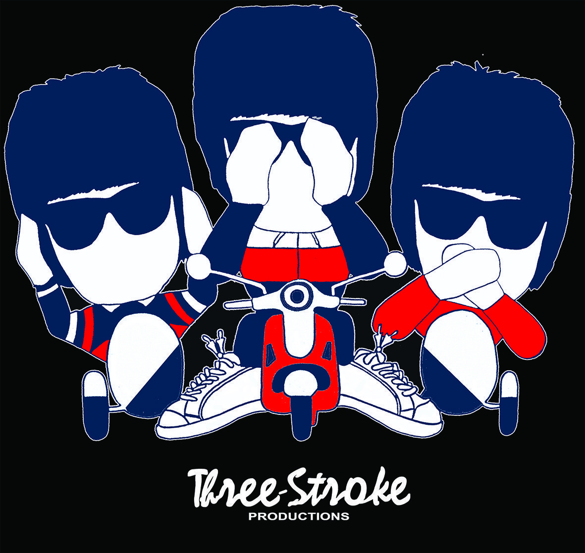 three casuals t shirts by a guy called called minty for three stroke productions