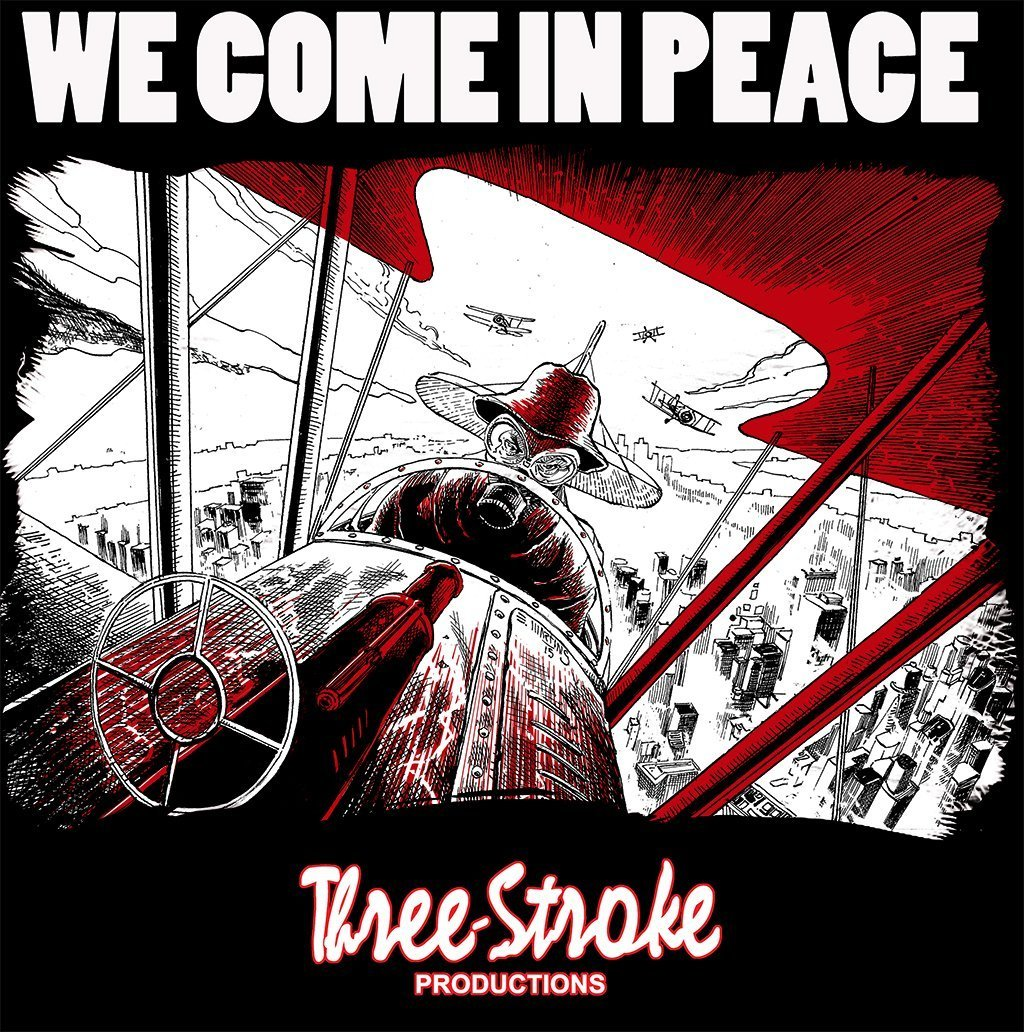 we come in peace t shirt by three stroke productions