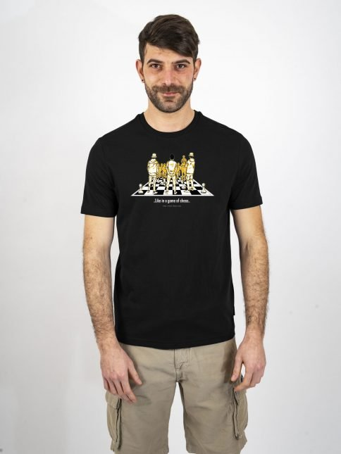 black game of chess t shirt three stroke productions