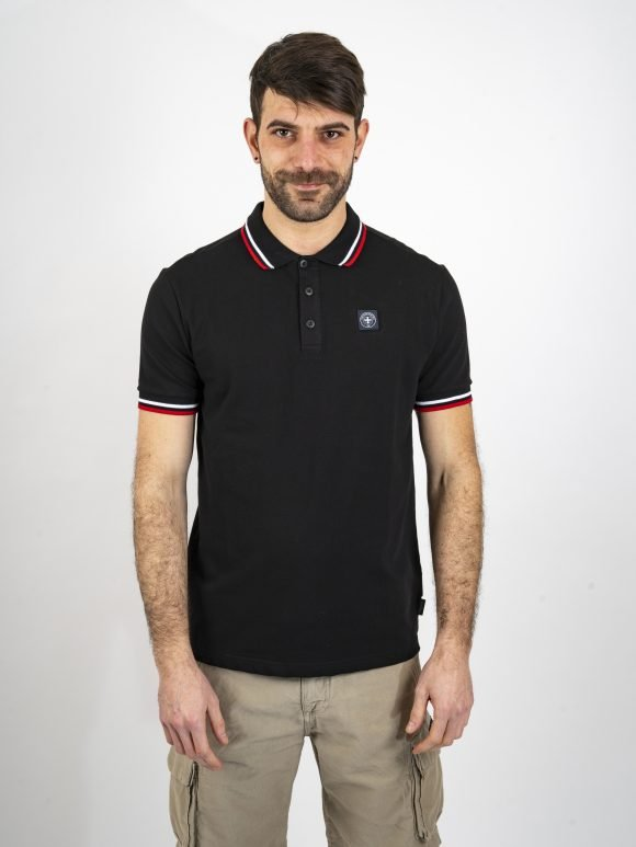 black the classic polo shirt three stroke productions