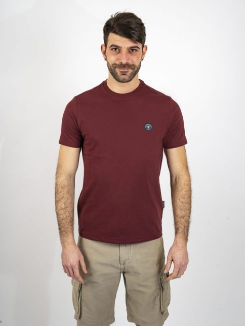 burgundy minimum t shirt by three-stroke production