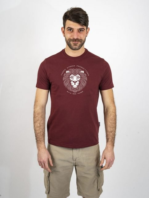 burgundy acta t shirt by three-stroke production