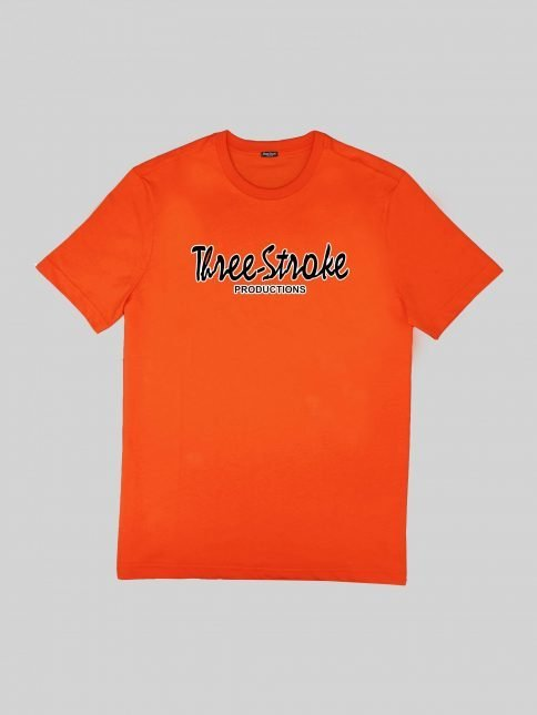 orange classic t shirt by three-stroke production