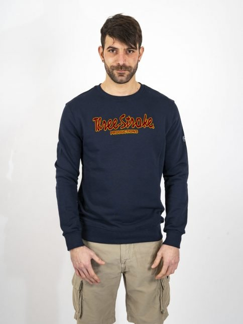 navy classic sweatshirt three stroke productions