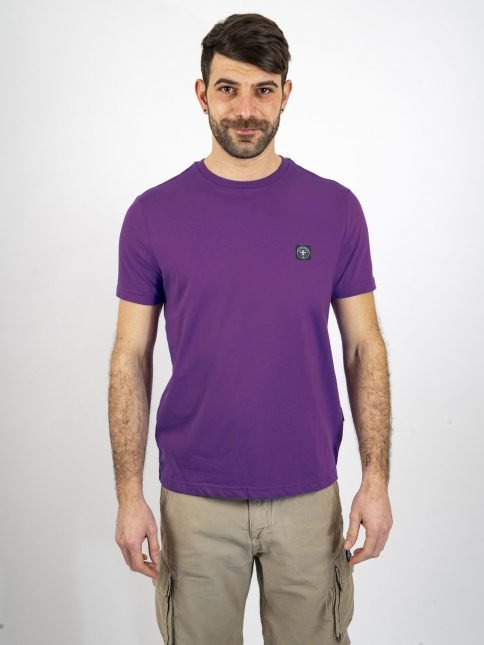 purple miimum t shirt by three-stroke production