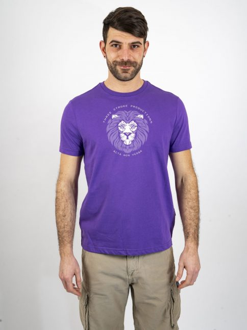 purple acta t shirt by three-stroke production