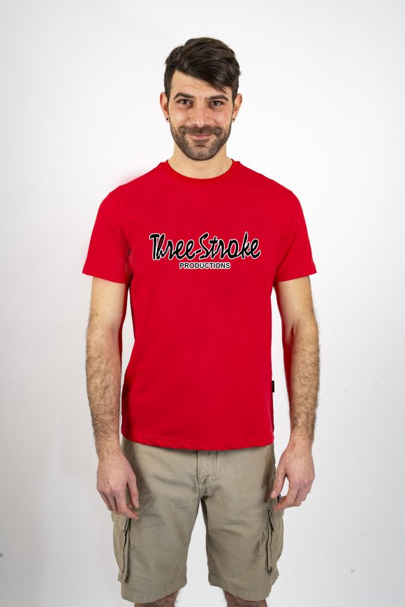 red classic t shirt three stroke production