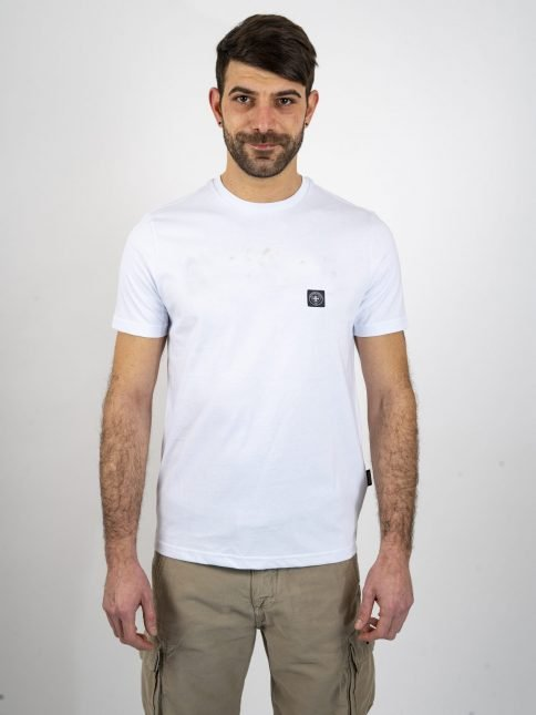 white minimum t shirt by three-stroke production