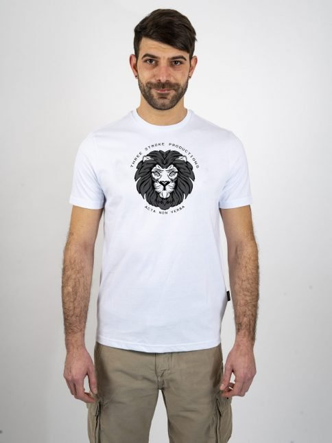 white acta t shirt by three-stroke production