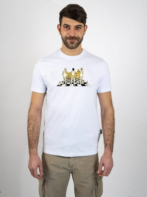 white game of chess t shirt three stroke productions