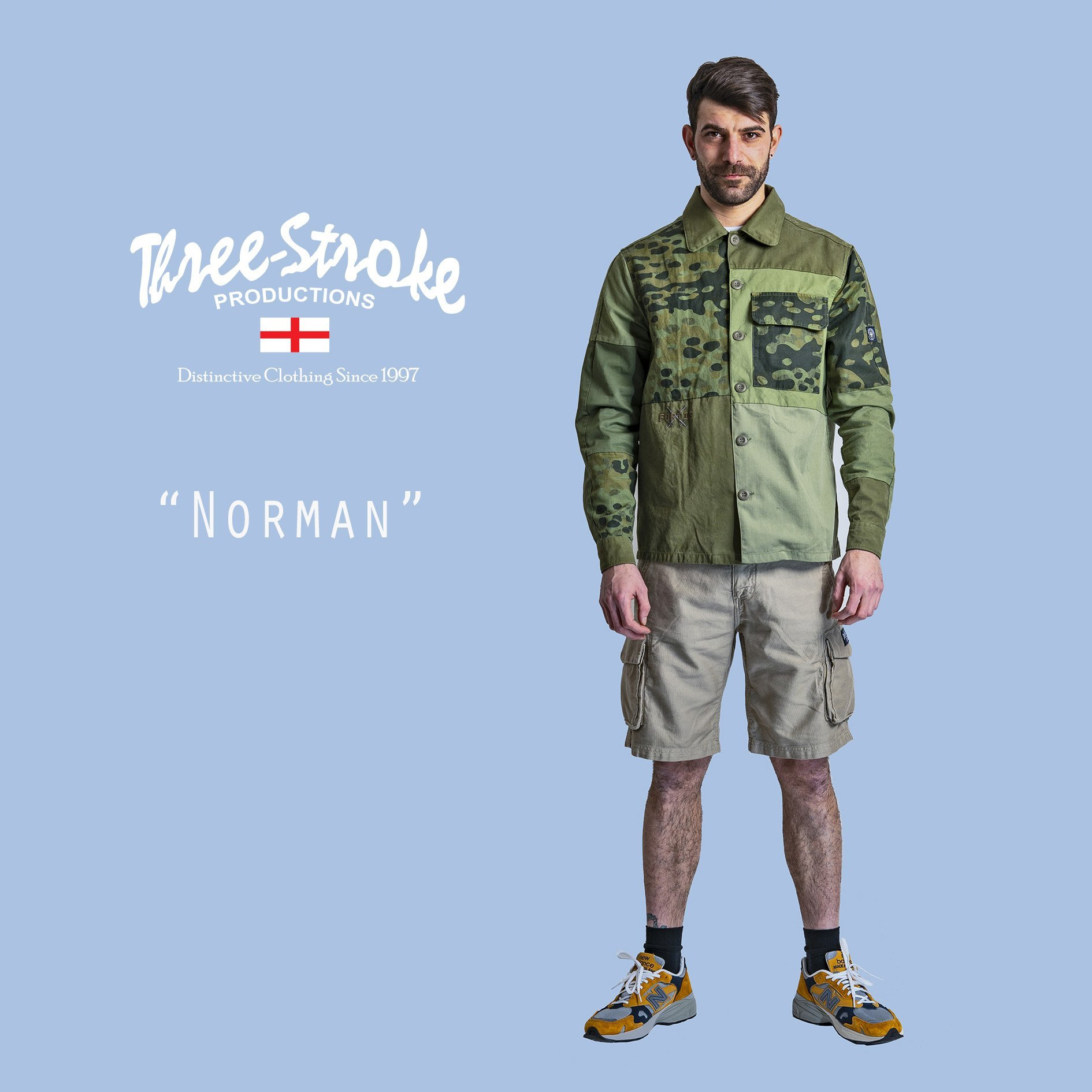 Norman overshirt and combat shorts by Three Stroke Productions