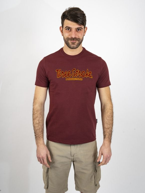 burgundy classic t shirt by three-stroke production