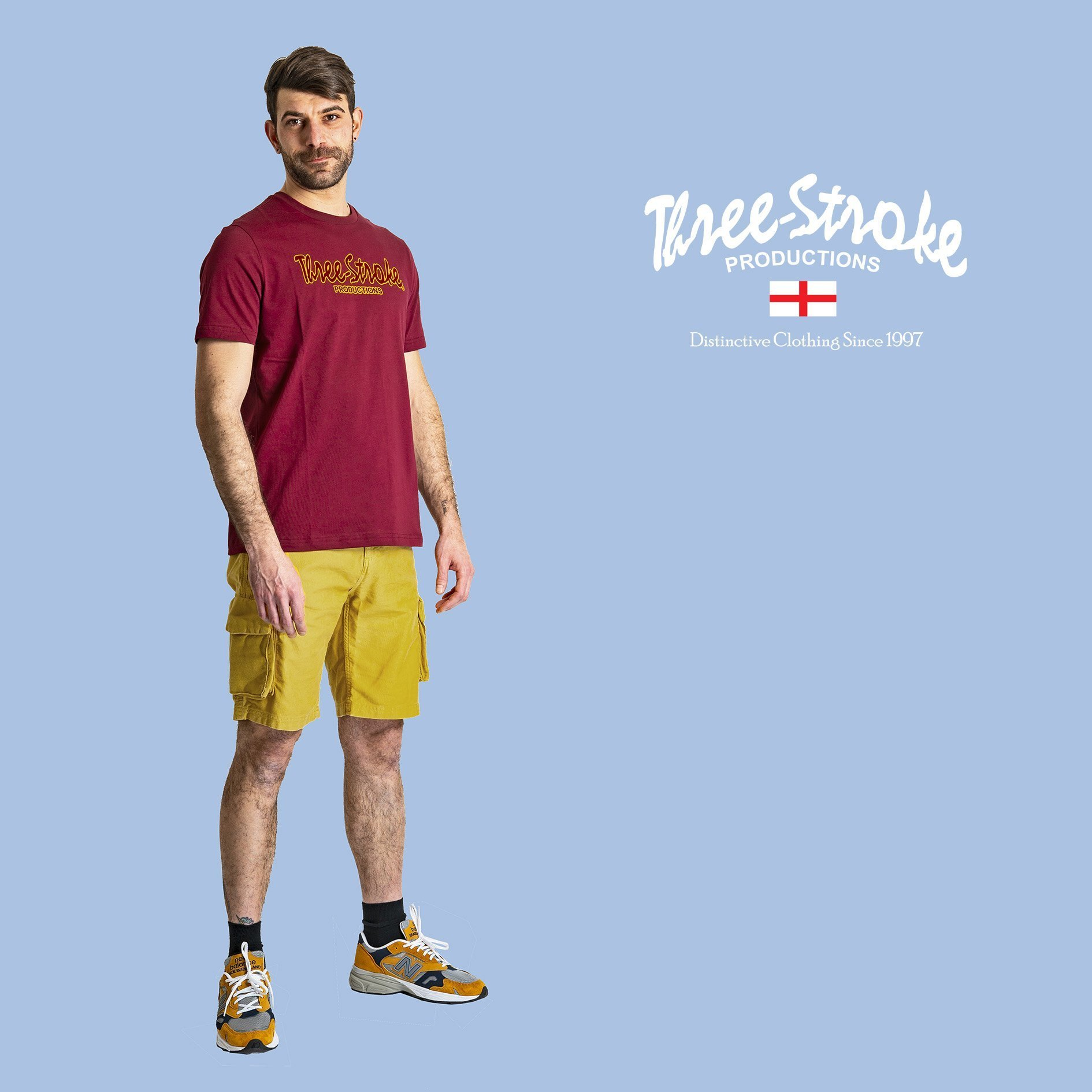 classic t shirt and combat shorts by Three Stroke Productions SS21