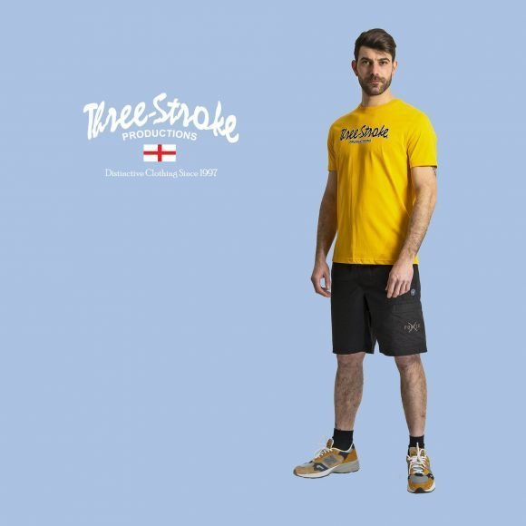 yellow t shirt and explorer ripstop shorts by three stroke productions