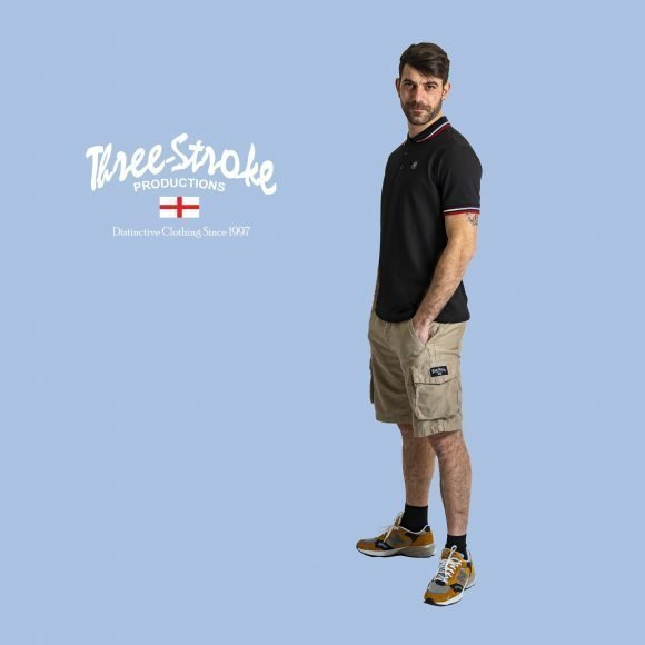 the classic polo and stone combat shorts by Three Stroke Productions