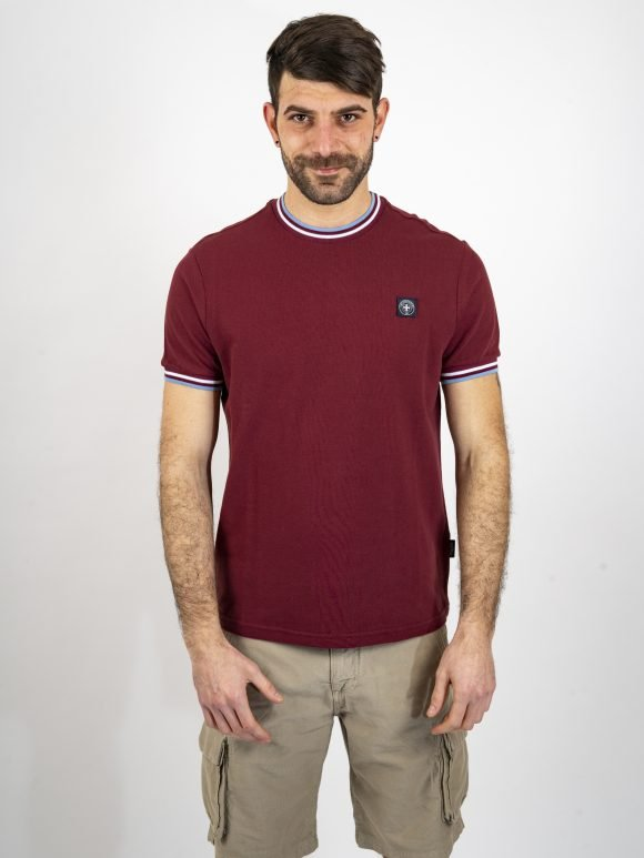 burgundy eddie t shirt by three-stroke production