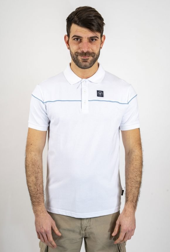 white cooper polo shirt three stroke productions